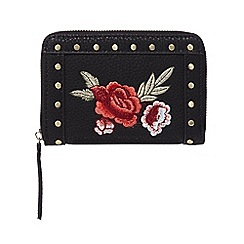 Red Herring - Black embroidered small zip purse
