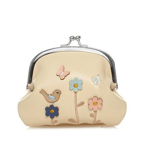The Collection - Cream applique flower and bird coin purse