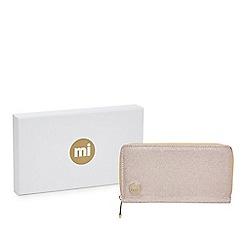 Mi-Pac - Taupe champagne glitter zip around large purse