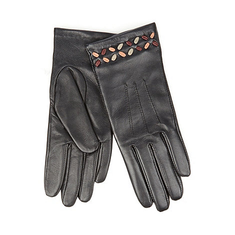 Bailey & Quinn - Black leather stitch detail gloves