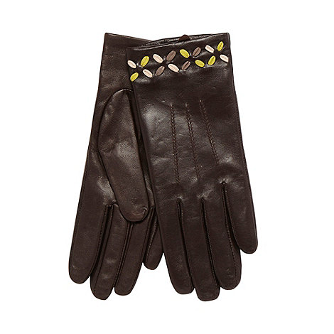 Bailey & Quinn - Chocolate leather stitch detail gloves