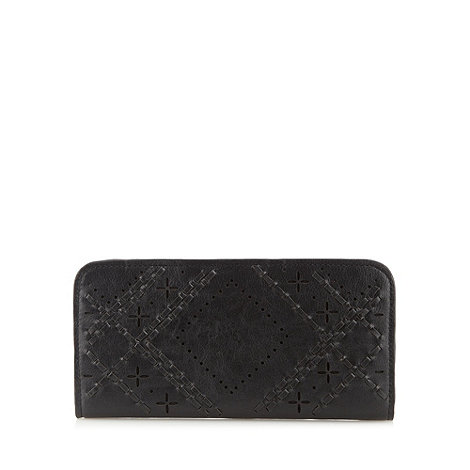 Sacha - Black large cutwork and weave front purse