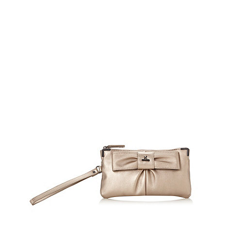 Fiorelli - Gold metallic bow front wristlet bag