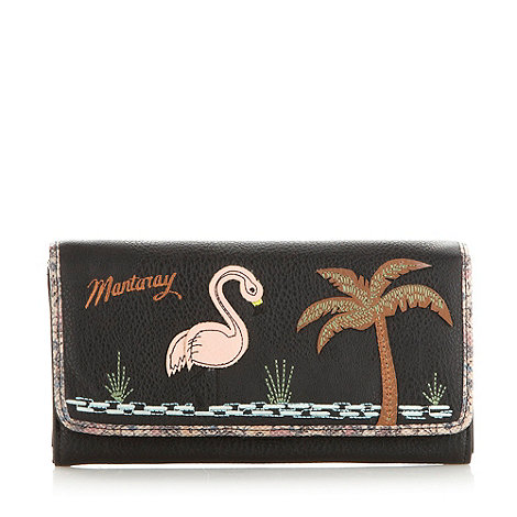 Mantaray - Black flamingo embroidered floral purse