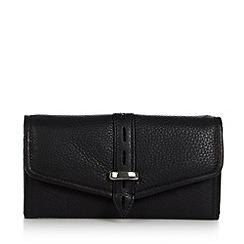Betty Jackson.Black - Designer black leather cutout flapover purse