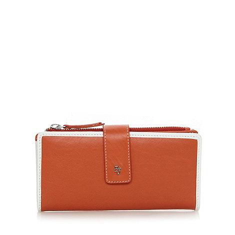Betty Jackson.Black - Designer orange leather tab detail purse
