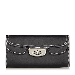 The Collection - Black mock double flap over crosshatch purse