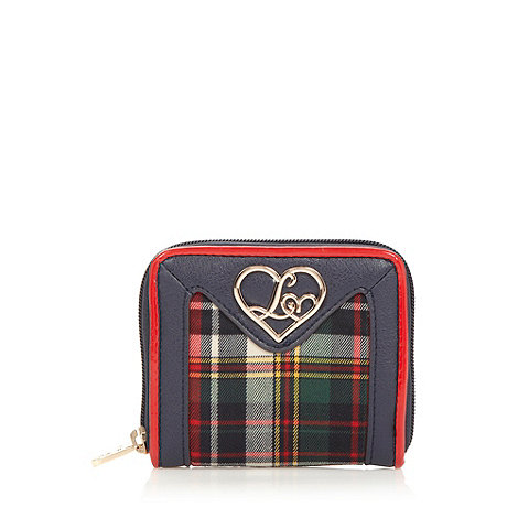 Lipsy - Navy checked zip around purse