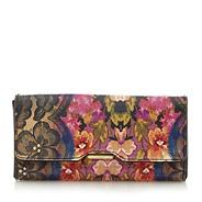 Pink graphic floral popper purse