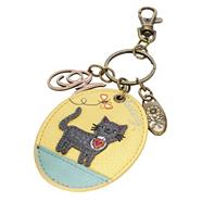 Yellow applique kitten keyring