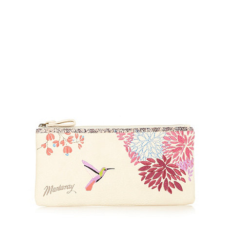 Mantaray - Beige hummingbird embroidered floral pencil case