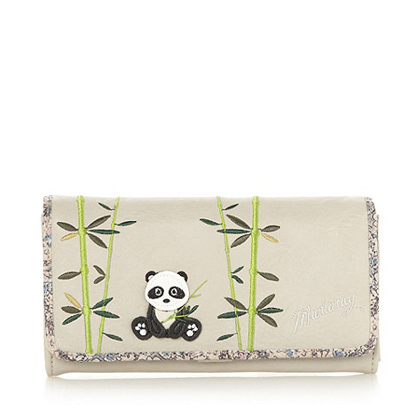 Mantaray - Beige panda embroidered floral purse