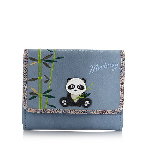 Mantaray - Light blue small applique panda purse