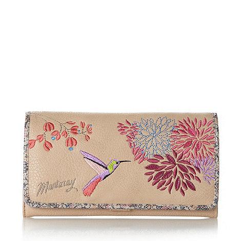Mantaray - Light tan hummingbird large flapover purse