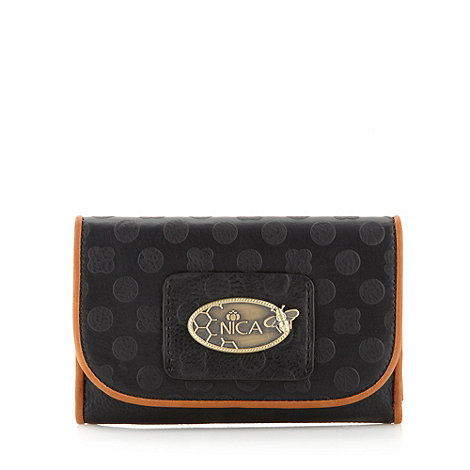 Nica - Black embossed popper purse