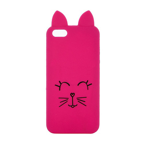 H! by Henry Holland - Designer dark pink cat face iPhone case