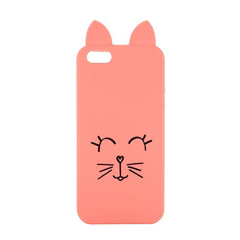 H! by Henry Holland - Designer coral cat face iPhone case