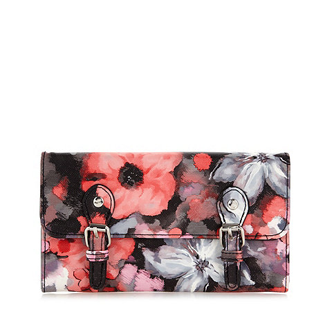 Red Herring - Red floral glitter purse