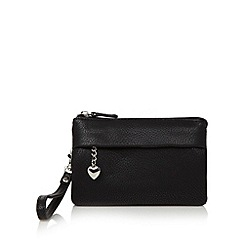 Red Herring - Black soft wristlet clutch