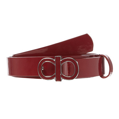 The Collection - Red patent enamel bow belt