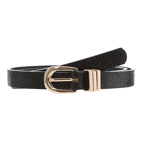 The Collection - Black snakeskin textured skinny belt