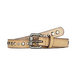 Mantaray - Cream studded skinny belt