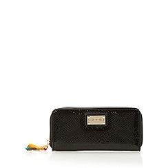 Floozie by Frost French - Black patent snakeskin textured zip purse