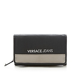 Versace Jeans - Black metallic trim logo flap over purse