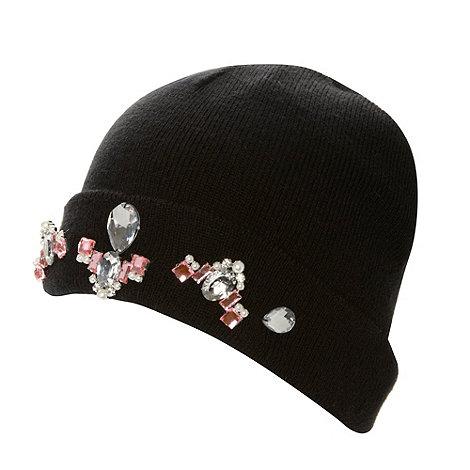 Skinnydip - Black embellished headphone beanie hats
