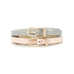 Red Herring - Set of two pink and grey super skinny belts