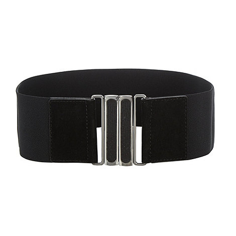 Red Herring - Black elasticated faux snakeskin buckle belt