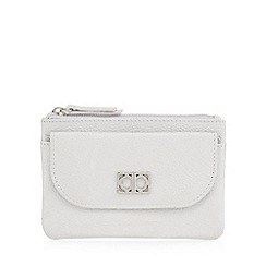 The Collection - Grey leather flap over pocket coin purse