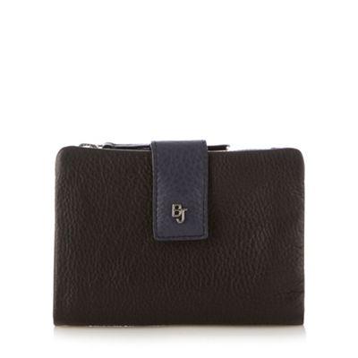 Betty Jackson Black Designer black leather soft flap over purse - . -