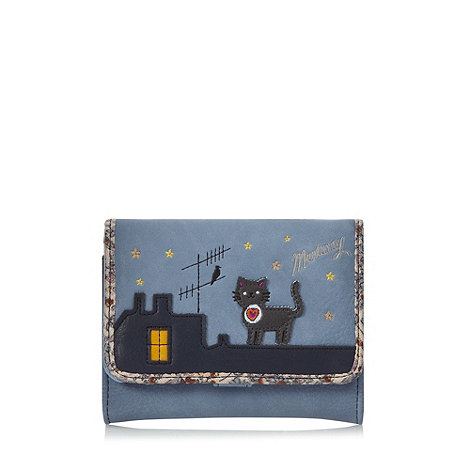 Mantaray - Blue cat applique small flap over purse