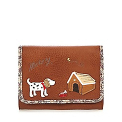 Mantaray - Tan applique dog small flap over purse