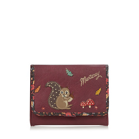 Mantaray - Wine applique squirrel medium flap over purse