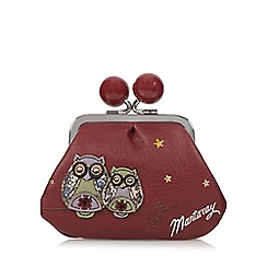 Mantaray - Wine applique owls framed coin purse