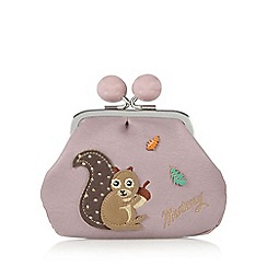 Mantaray - Lilac applique squirrel framed coin purse