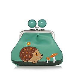 Mantaray - Green hedgehog applique frame coin purse