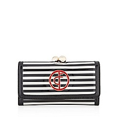 Floozie by Frost French - Black striped patent logo clip frame purse