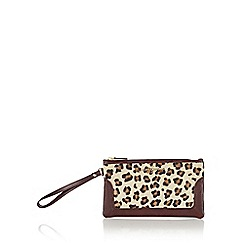 J by Jasper Conran - Designer dark red leopard wristlet bag