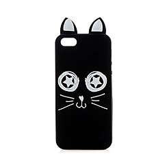 H! by Henry Holland - Designer black cat face printed iPhone 5/5S cover