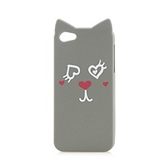 H! by Henry Holland - Designer grey cat face printed iPhone 5/5S cover