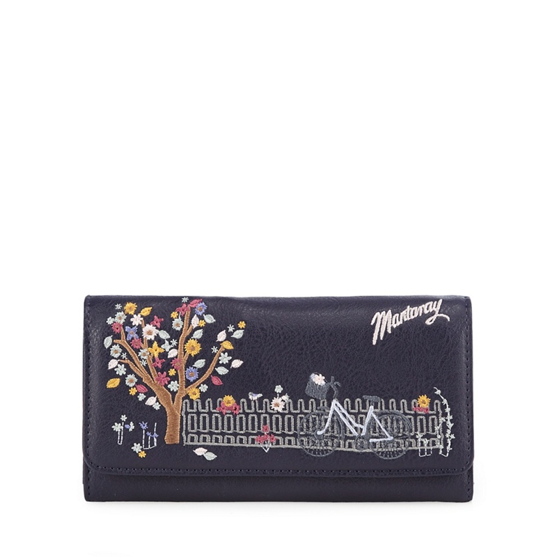 Mantaray Navy bicycle embroidered large flap over purse - One Size - Purses (8749171 5045478464928) photo