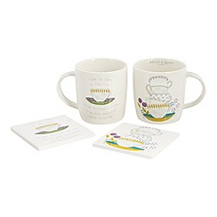 Bailey & Quinn - Set of two porcelain mugs and coasters