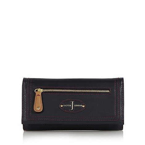 J by Jasper Conran - Designer navy grained zip flap over purse