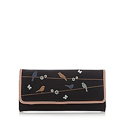 The Collection - Black applique birds large flap over purse