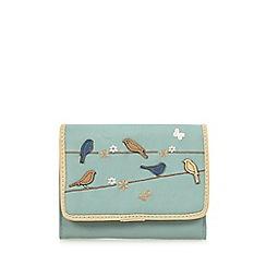 The Collection - Blue applique birds medium flap over purse