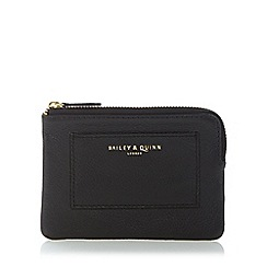 Bailey & Quinn - Black 'Posy' grained leather zip around purse