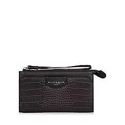 Bailey & Quinn - Black 'Heligan' leather mock croc wristlet purse
